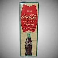 Vintage 1961 Coca Cola Fishtail Metal Coke Sign