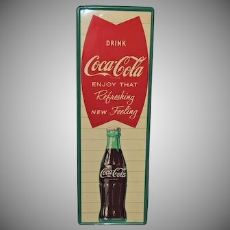 Vintage 1961 Coca Cola Fishtail Metal Coke Sign
