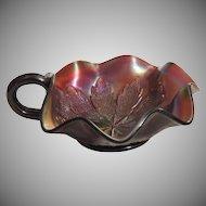 Dugan Leaf Rays Dk Carnival Glass Nappy Dish Bowl
