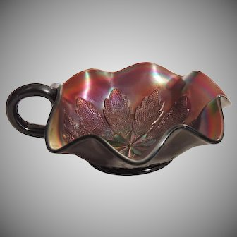 Dugan Leaf Rays Dk Carnival Glass Nappy Dish Bowl