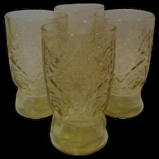 4- 5 oz Juice Rippled Base Tumblers Madrid Amber by Federal