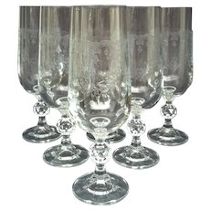 6 Cascade Fluted Crystal Champagne Stems ~ Import Associates