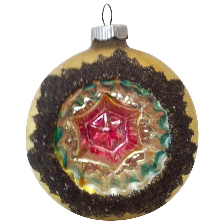 jumbo west germany indent with mica christmas ornament