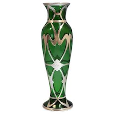 Art Nouveau American Sterling Silver Green Glass Overlay Floral Vase Circa 1900