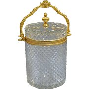 French Baccarat Art Deco Diamond-Cut Clear Glass Gilt Bronze Mounted Tall Box