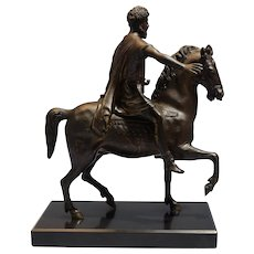 Italian late 18th/Early 19th Century after antique Bronze Equestrian Figure of Marcus Aurelius