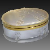 French Lalique Crystal Glass Large Box/Casket Floral Design 20th Century