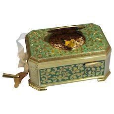 German Gilt Brass/Metal Green Enamel Mechanical Singing Bird Box by Emil Brenk 20th century