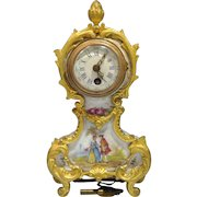 French Samson Painted Porcelain Gilt Bronze Mount Mechanical Clock early 20th Century