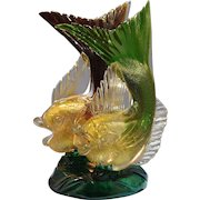 Italian Murano Seguso Vetri d'Arte Ruby & Green Glass Double Fish Sculptured Lamp Mid-Century