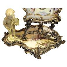 Austrian Sterling Silver Enamel Easel Clock Carved Cherub as Painter