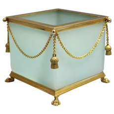 French Gilt Bronze Mounted Aquamarine Color Opaline Glass Cachepot early 20th Century