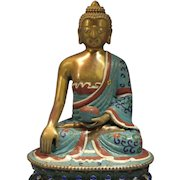 Antique Chinese Gilt Bronze Cloisonné Enamel Seated Buddha Lotus late 19th Century
