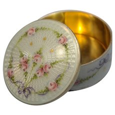 Continental Sterling Silver Gold Wash Guilloche Enamel Lidded Box Red Rose Motif