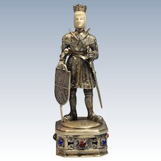 Circa 1915 German Sterling Gilt Silver Figure/Statue of a King w/Sword Dagger