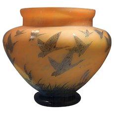 Art Deco Monumental Art Glass Charder French Orange Vase Geese Motif