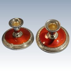 Norsk Solwarreindustri Art Deco Sterling Silver Guilloche Red Enamel Candlesticks