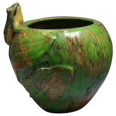 Weller Coppertone Frog Handle Green Glaze Leaf Motif Ceramic Vase