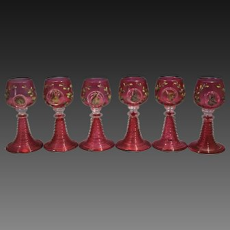 Six Moser Cranberry Glass Liqueur Stems Painted Animal Plaques