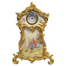 Vienna Enamel Painted Plaque Austrian Gilt Bronze Easel Form Clock Circa 1900