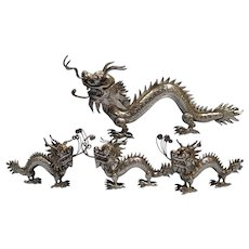 Chinese Sterling Silver Four Figures of Dragons Circa late 1930s