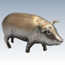 Continental 900 Silver Hand Chased Figure of a Pig/Hog 20th Century 4.6 oz