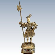 German Parcel-Gilt Silver Figure of Medieval Royal Guard in Armor Circa 1915