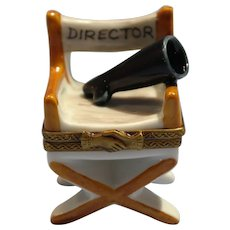 French Limoges Porcelain Box Film Director's Chair Rochard Collection