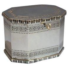Portuguese Sterling Silver Jewelry Casket Box w/Key by Ourivesaria da Moda Lisbon 20th Century