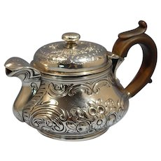 English George III Sterling Silver Repousse Saffron/Tea Pot by Robert HennelI II 1812