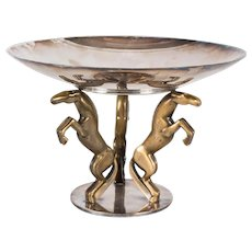 French Art Deco PUIFORCAT Silver-plate Gilt Bronze Horse Figural Base Compote/Bowl