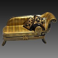 French Limoges Porcelain Box Empire Style Napoleonic Era Sofa Rochard Collection