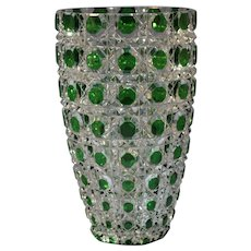 French Baccarat Green to Clear Cut Glass Floral Vase 20th Century