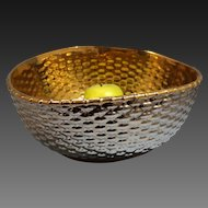San Marco Buccellati Italian Ceramic/Porcelain Large Gold & Silver Basket Woven Bowl late 20th Century