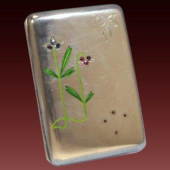 Art Nouveau Austrian Sterling Silver Enamel Aquamarine Sapphire & Garnets Cigarette Case