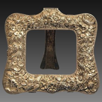 Samuel Kirk & Son Sterling Silver Repousse Picture Frame Baltimore Rose Early 20th Century