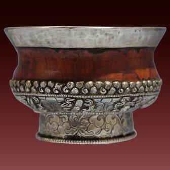 Tibetan Silver & Redwood Ceremonial Repousse Cup Circa 1930s