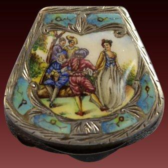 Italian 800 Gilt Silver Enamel Plaque Turquoise Enamel Box by Coppini & Co