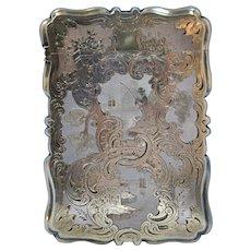 Circa 1856 English Victorian Sterling Silver Engraved Card Case Frederick Marson