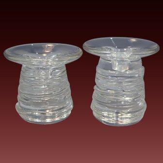 Rare Steuben Pair of Crystal Glass 'Celebration' Candlestick Circa 1997