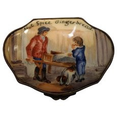 "Bilston & Battersea English Enamel Snuff/Snuff Box ""Hot Spice Gingerbread"" late 18th century"