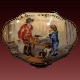 "Bilston & Battersea English Enamel Snuff/Snuff Box ""Hot Spice Gingerbread"" late 18th century"
