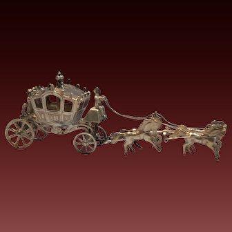 German Hanau Sterling Silver Four Horse Carriage Figural Presentation Box Early 20th Century