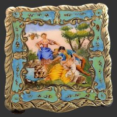 Italian 800 Gilt Silver Enamel Plaque Chased Compact/Snuff Box 20th Century