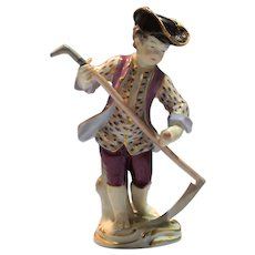 Meissen Painted Figure Of Cherub Grass Cutter w/Scythe Early 20th Century