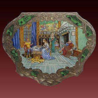 Italian 800 Gilt Silver Enamel Plaque Medieval Castle Powder Box/Case 20th Century