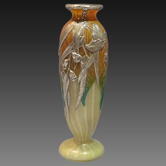 Art Nouveau Daum Silver Overlay French Art Etched Glass Vase Signed M. Maurice Circa 1915