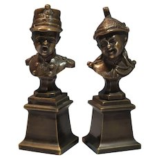 Antique French Bronze Busts of Children in Officer Uniform by J. Chiriet