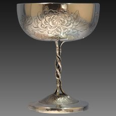 Chinese Sterling Silver Engraved Chalice/Goblet Luen Wo Chrysanthemum Motif