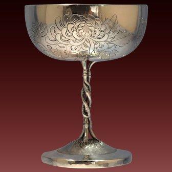 Chinese Sterling Silver Engraved Chalice/Goblet Luen Wo Chrysanthemum Motif